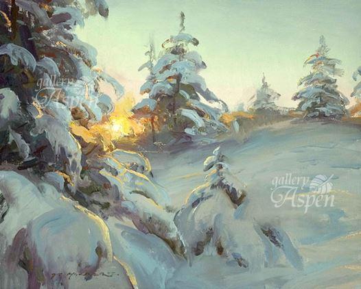 雪映えの朝陽