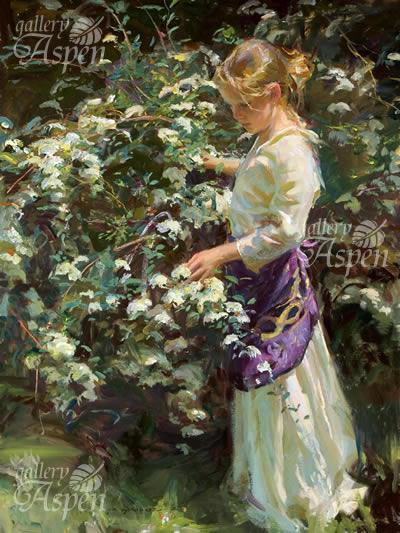 こでまりの咲く庭 (キャンバス)